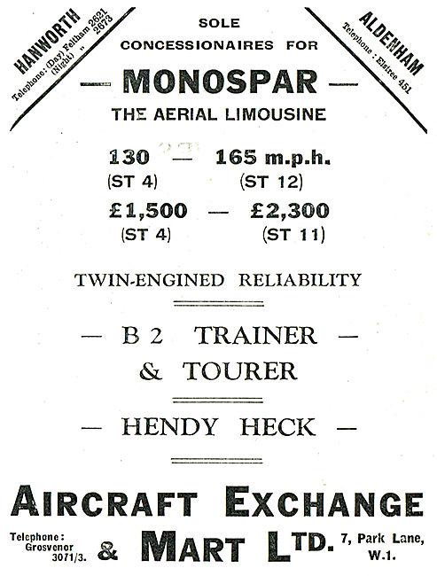 Aircraft Exchange & Mart - Concessionaires For Monospar