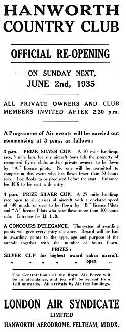 Hanworth Country Club - Official Re-Opening June 2nd 1935