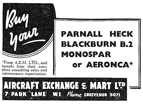 Aircraft Exchange & Mart: Parnall Heck. Blackburn B2