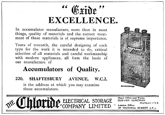 Chloride Batteries. Exide Accumulators 1919 Advert