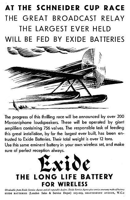 Exide Aircraft Batteries 1929