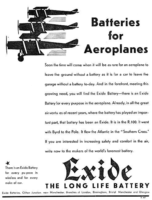 Exide Aircraft Batteries 1930