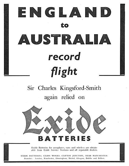 England Australia Record Flight Used Exide Batteries