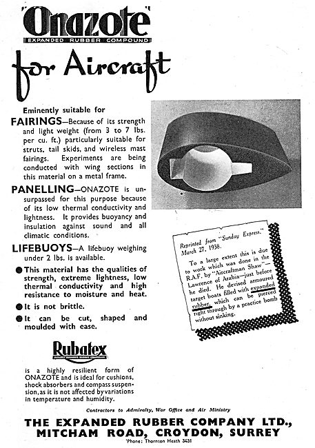 Expanded Rubber Co - Rubatex Aircraft Components