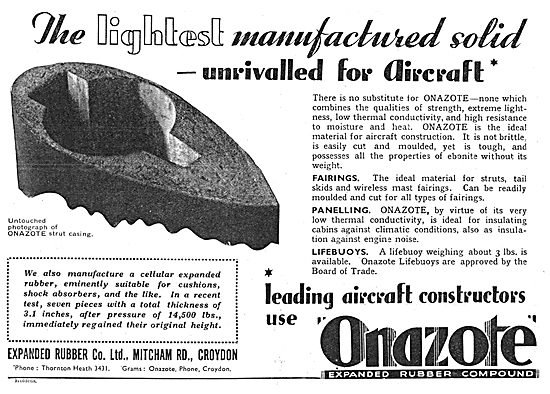 Exapnded Rubber Co. Onazote Synthetic Rubber Components 1938