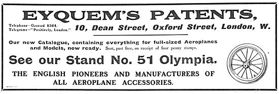 Eyquems Patents Pioneers & Manufacturers Of Aeroplane Accessories