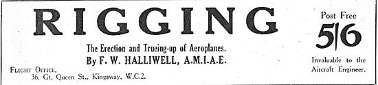 F W Halliwell For The Erection & Trueing-Up Of Aeroplanes