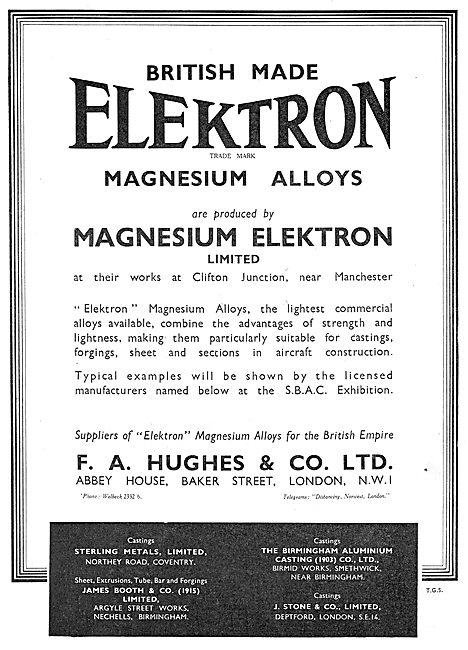 F. A.Hughes Elektron Magnesium Alloy For Aircraft