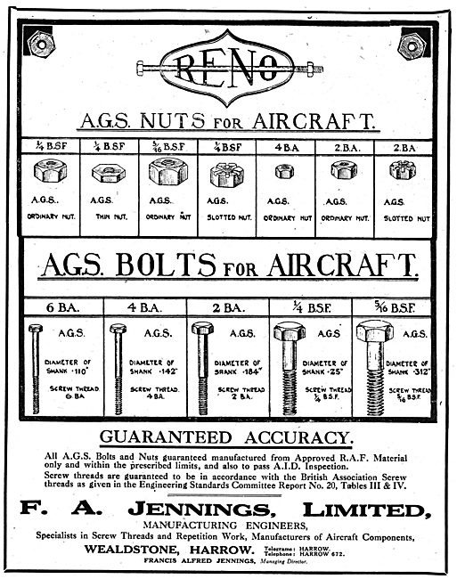 F.A.Jennings Ltd. Manufacturing Engineers, AGS Parts. Harrow