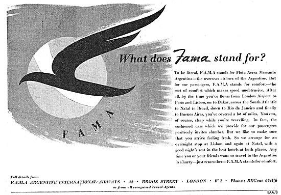 FAMA  Argentine Airlines 1948 Advert