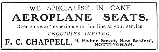 Chappell Cane Aeroplane Seats. 9, Fisher St, Basford Nottingham