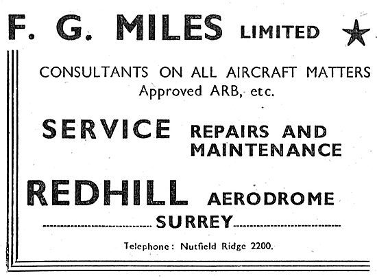 F.G.Miles. Redhill. Aircraft Service & Maintenance