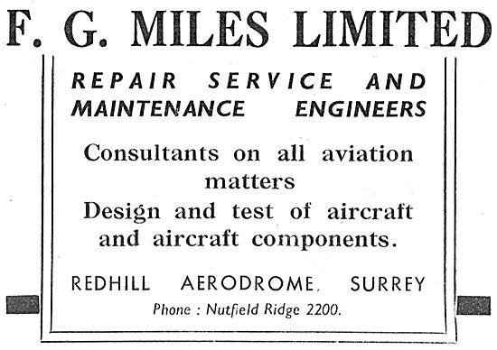 F.G.Miles Redhill. Aircraft Service & Maintenance