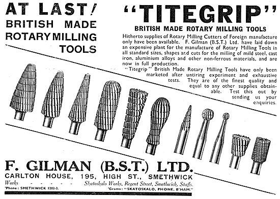 F.Gilman Rotary Milling Machine Tools