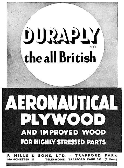 F.Hills Duraply Aeronautical Plywood 1940