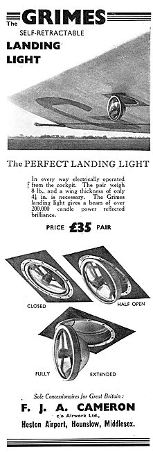 F.J.A.Cameron - Grimes Self Retractable Landing Lights