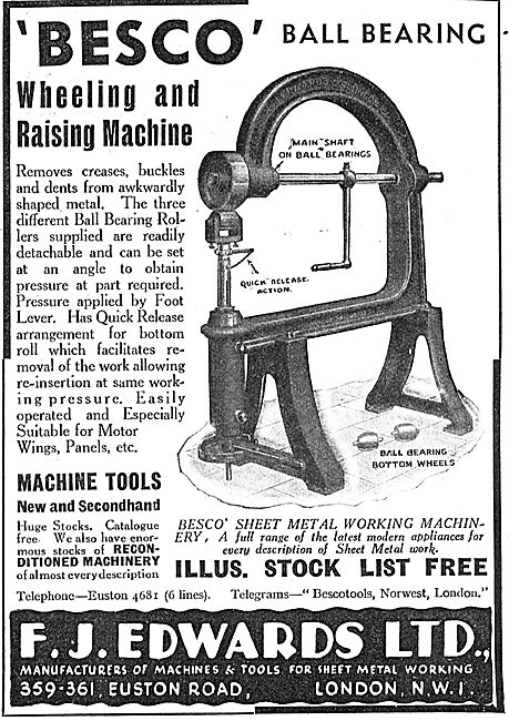 F.J.Edwards.  BESCO Ball Bearing Wheeling & Raising Machine 1939