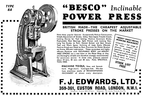 F.J.Edwards Besco Machine Tools: Besco Power Press