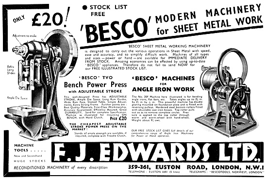 F.J.Edwards Besco Machine Tools: Besco Sheet Metalworking Tools