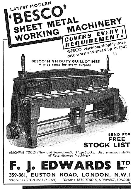 F.J.Edwards Machine Tools: Besco Sheet Metal Working Machinery