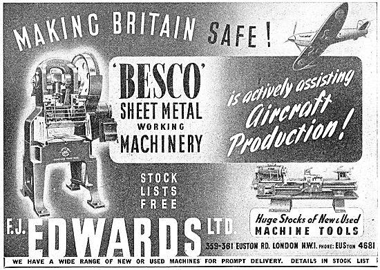 F.J.Edwards Machine Tools For The Aircraft Industry