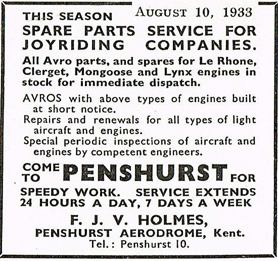 F J V Jones Parts For Joyriding Companies At Penshurst Aerodrome