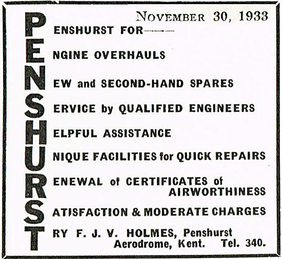F J V Holmes Aircraft Maintenance At penshurst Aerodrome