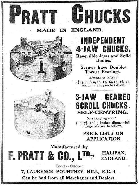 F.Pratt & Co Ltd. Halifax. Machine Tools, Pratt Chucks