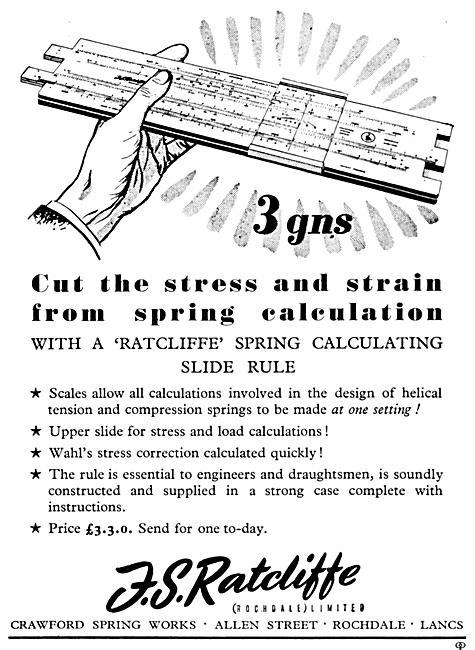 F.S.Ratcliffe Spring Calculating Slide Rule