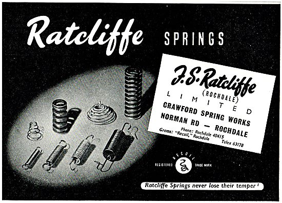 F.S.Ratcliffe Springs For Aircraft