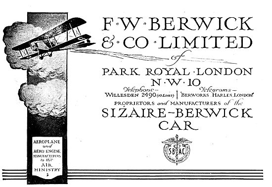 F.W.Berwick & Co. Aeroplane & Aero Engine Manufacturers