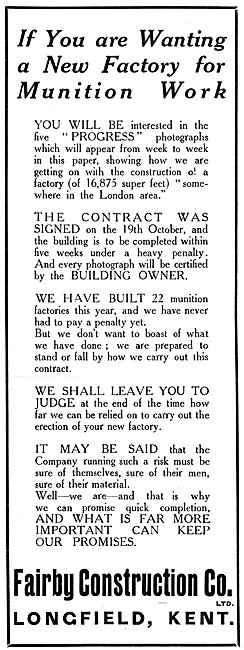 Fairby Construction. Hangars and Factory Buildings 1915