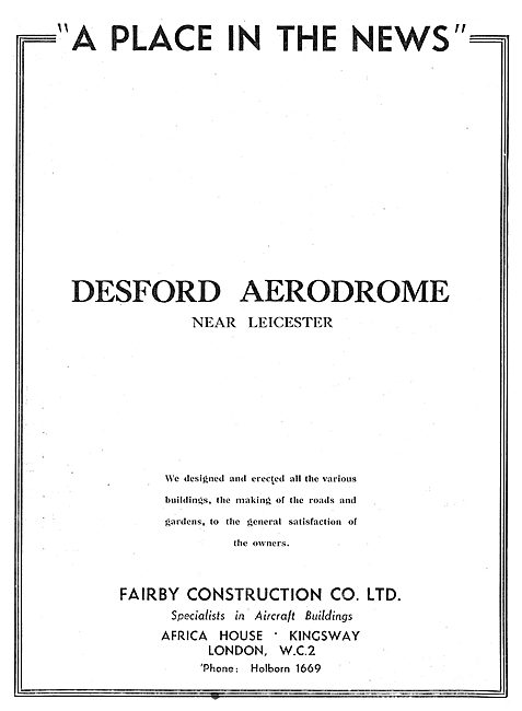 Fairby Construction Co Ltd : Desford Aerodrome