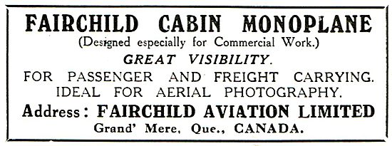 Fairchild Cabin Monoplane Designed For Commercial Work
