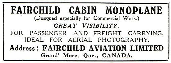 Fairchild Cabin Monoplane Designed For Commercial Work
