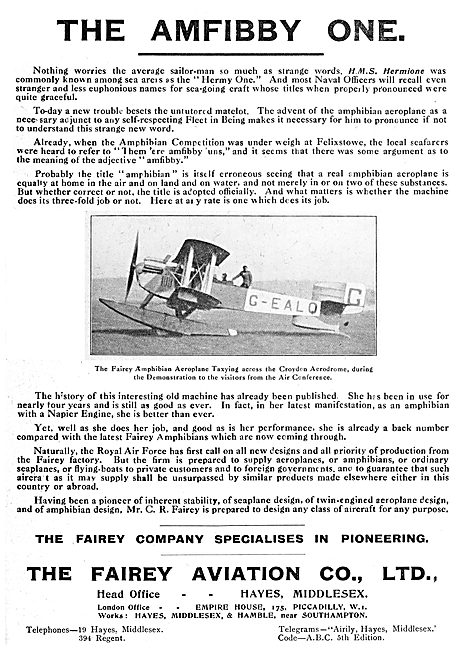 Fairey Amphibian - Amfibby One