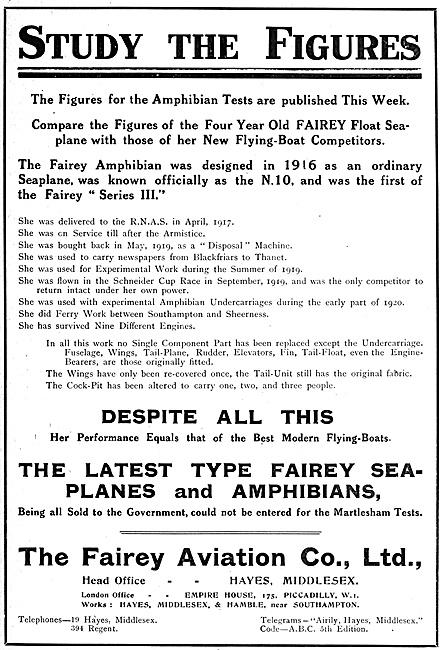 Fairey Amphibian Aircraft 1920