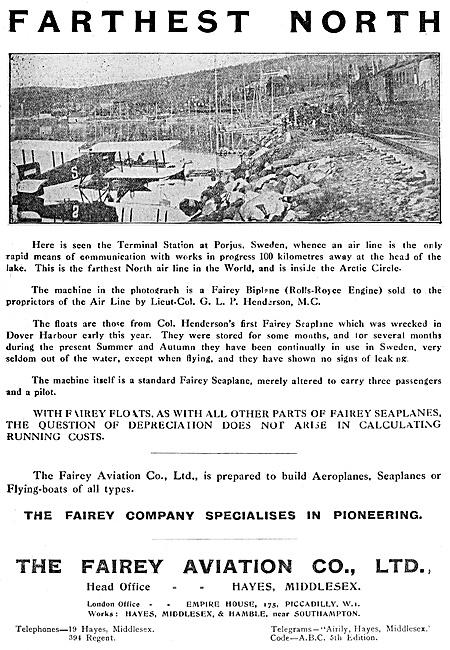 Fairey Seaplanes & Amphibians 1920