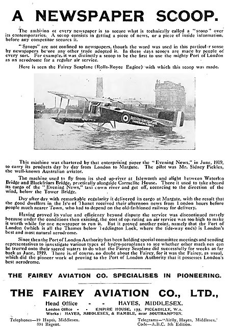 Fairey Seaplane - Sidney Pickles Newspapers