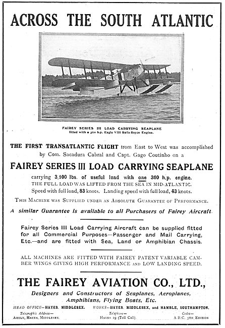 Fairey Series III Load Carrying Seaplane
