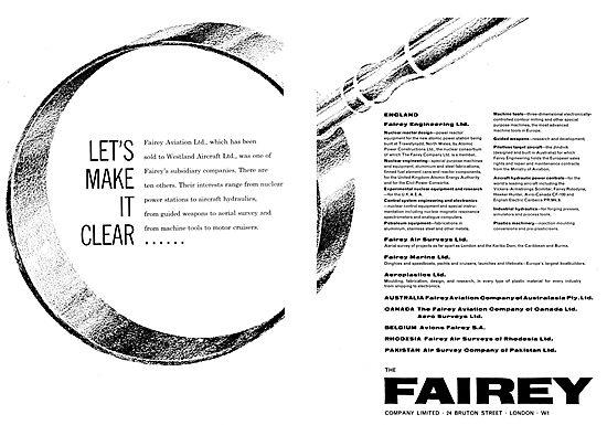 Fairey Aviation - Westland Aircraft  Announcement