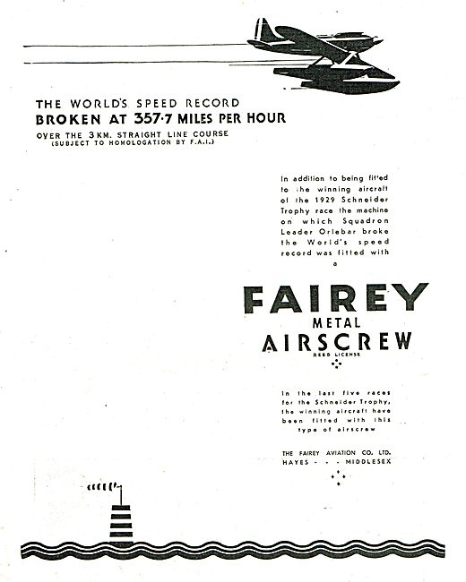 Fairey Metal Aircrew Fitted To The 1929 Schneider Trophy Winner