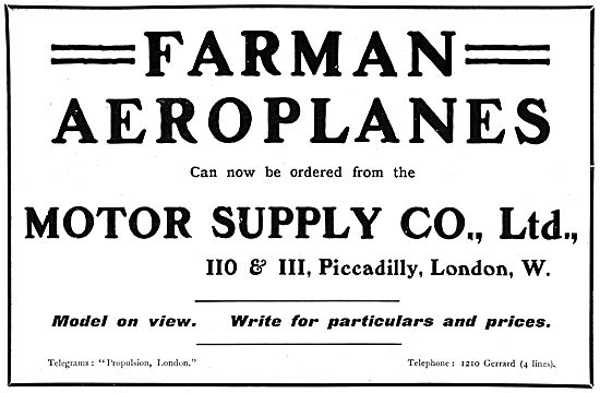 Farman Aeroplanes. Motor Supply Company