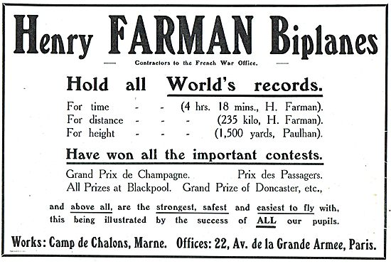 Henry Farman Biplanes World Records For Time, Distance & Height