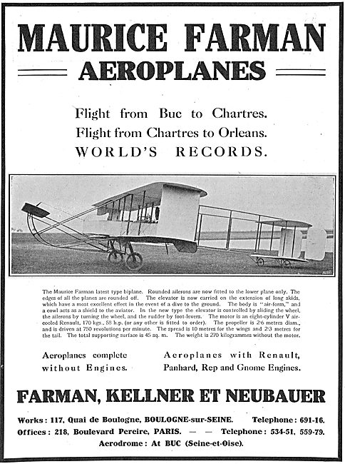 Maurice Farman World Record Flight From Buc To Chartres