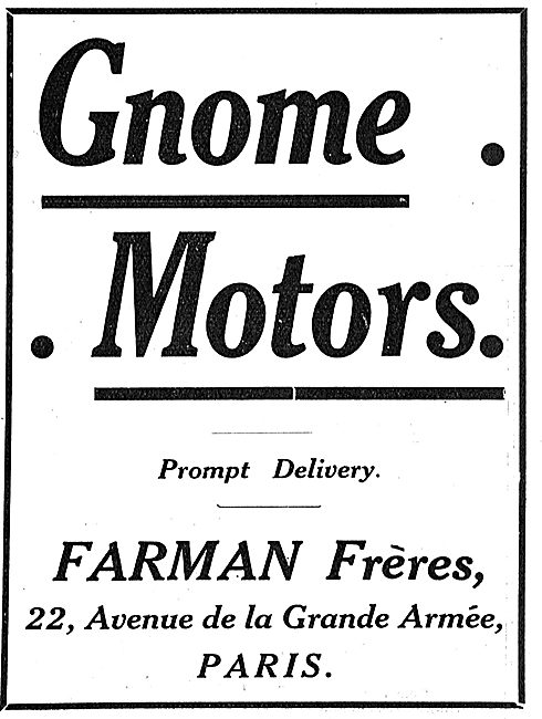 Prompt Delivery On Gnome Aero Motors From Farman Freres Paris