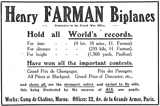 Henry Farman Biplanes Have Won All The Important Contests