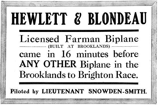 Farman Biplane - Hewlett & Blondeau. Brooklands To Brighton Race