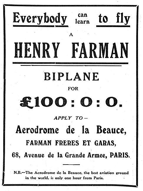 Leran To Fly On A Farman Biplane For £100 With Farman Freres