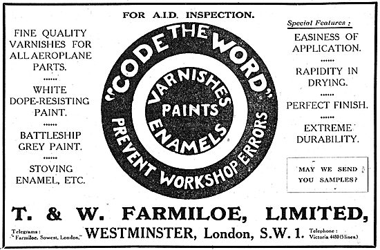 T. & W.Farmiloe. Paints, Varnishes, Dopes & Accessories